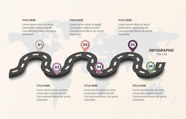 Droga linii czasu biznesu z 6 opcjami Premium Wektorów