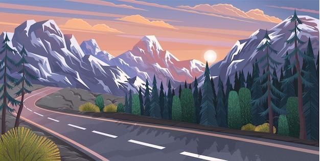 Droga Prowadząca Do Naturalnego Krajobrazu Gór Premium Wektorów