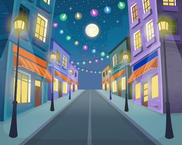 Droga Przez Ulicę Z Latarniami I Girlandą. Ilustracja Wektorowa Ulicy Miasta W Stylu Cartoon. Premium Wektorów