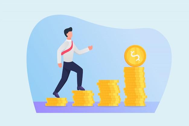 Droga Sukcesu Pojęcie Z Biznesowym Mężczyzna Odprowadzeniem Kroczyć Pieniężnego Pieniądze Przyrosta Premium Wektorów