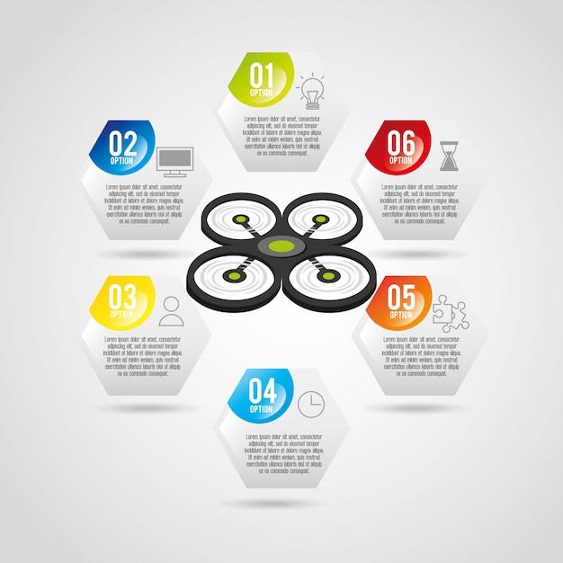 Dron technologia infographic szablon projektu Darmowych Wektorów