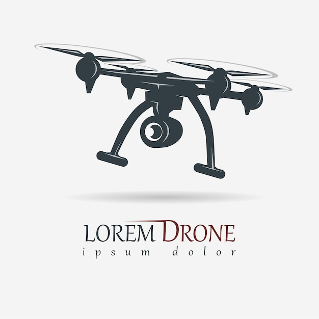 Dron Z Kamerą Sportową, Obraz Quadrocoptera, Emblemat Sprzętu Wideo Z Powietrza Premium Wektorów