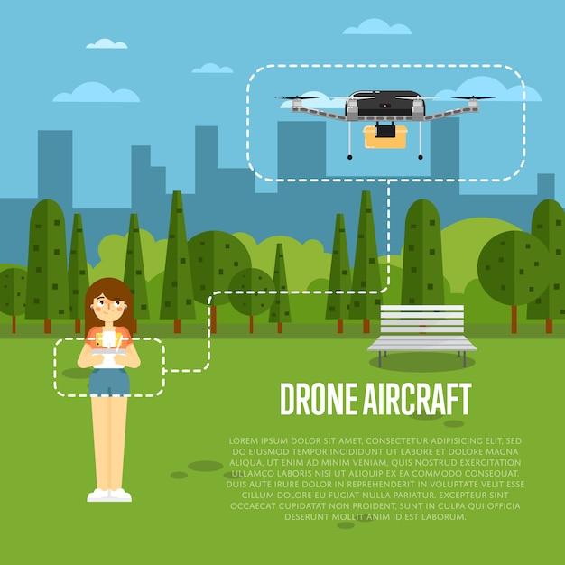 Drone banner samolotu z latającym robotem Premium Wektorów