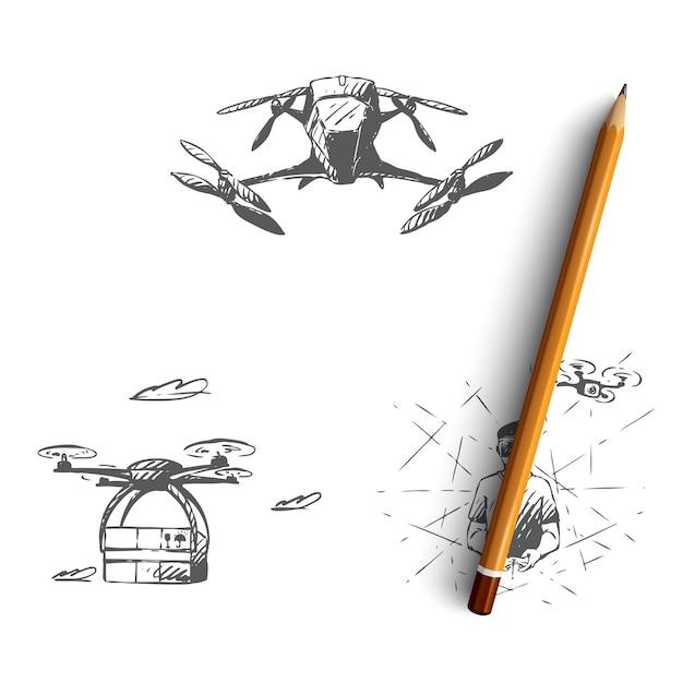 Drony Ręcznie Rysowane Ilustracji Premium Wektorów