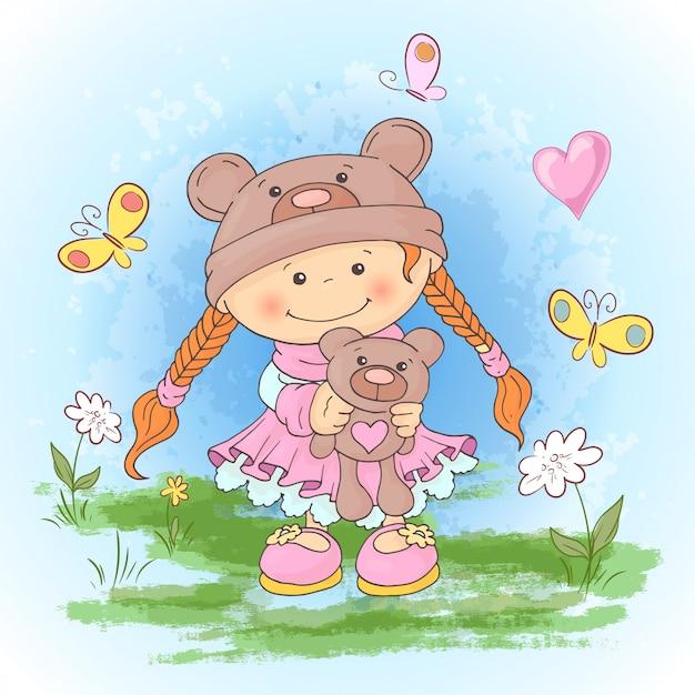 Druk pocztówkowy z uroczą dziewczyną w garniturze niedźwiedzi z zabawką. styl kreskówki. Premium Wektorów