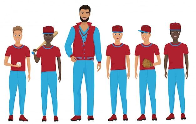 Drużyna Baseballowa Dzieci W Wieku Szkolnym Z Trenerem Stojącym Razem. Ilustracja Premium Wektorów