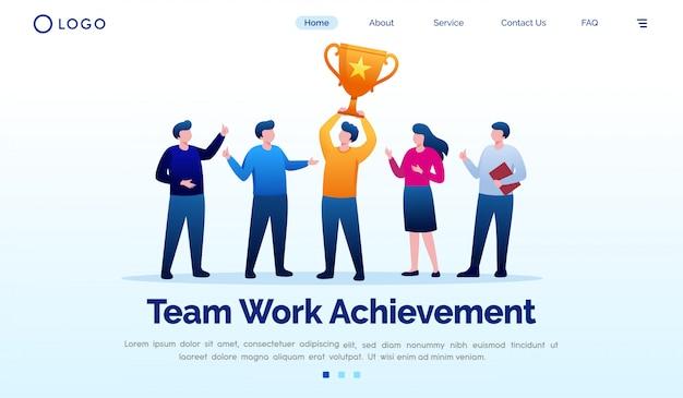 Drużynowej Pracy Osiągnięcia Lądowania Strony Strony Internetowej Ilustracyjny Wektorowy Szablon Premium Wektorów