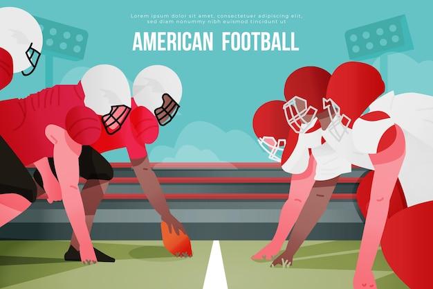 Drużyny Futbolu Amerykańskiego Na Boisku Piłkarskim Darmowych Wektorów