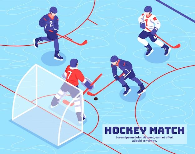 Drużyny Gracze Zbliżają Cel Z Krążkiem Hokojowym Podczas Hokeja Dopasowywają Na Lodowej Isometric Ilustraci Darmowych Wektorów