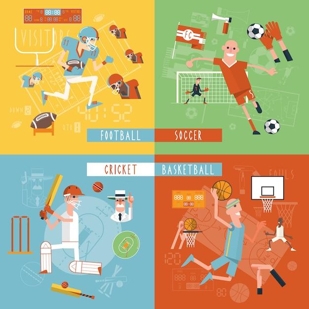 Drużyny sportowe płaskie ikony kwadratowy baner Darmowych Wektorów