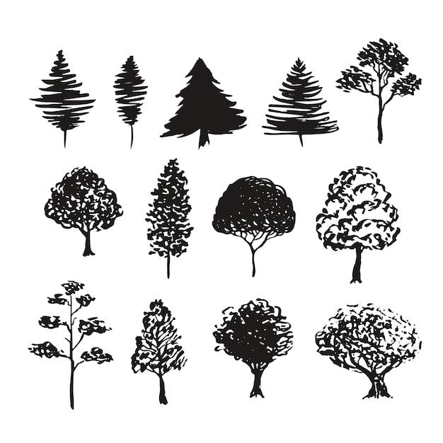 Drzewa Sylwetka Wektor Dekoracji. Ręcznie Rysowane Szkice Na Białym Tle Zestaw Premium Wektorów