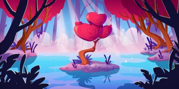 Drzewo Fantasy Z Koroną W Kształcie Serca W Leśnym Bagnie. Wektor Kreskówka Krajobraz Z Magicznym Czerwonym Grzybem, Niezwykłe Romantyczne Drzewo. Tło Gry Bajki Z Koncepcją Miłości Darmowych Wektorów