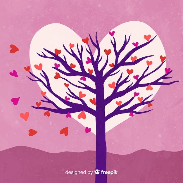 Drzewo walentynki tła Darmowych Wektorów