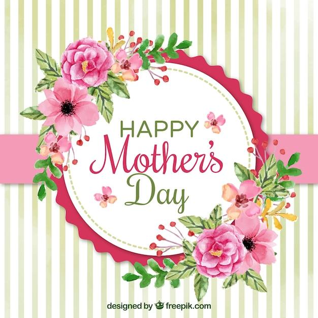 Drzewo z akwarelą kwiaty na dzień matki Darmowych Wektorów