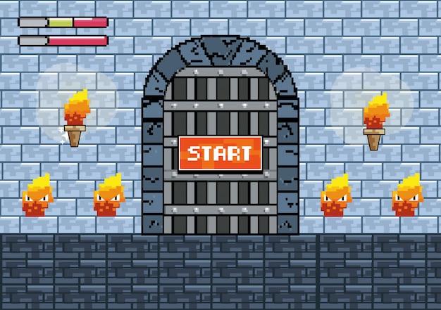 Drzwi zamku z pochodniami i znakami ognia Darmowych Wektorów