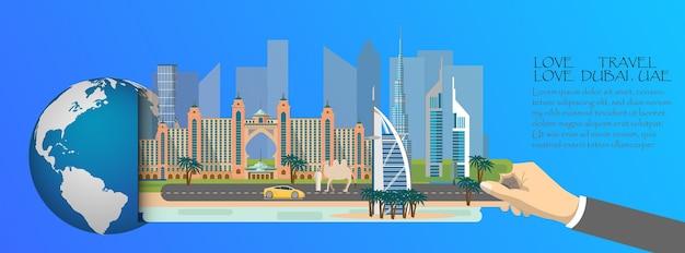 Dubai infograficzna, globalna z atrakcji dubaju Premium Wektorów