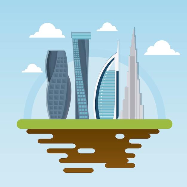 Dubaj Miasta Budynku Pejzażu Miejskiego Nowożytna Linia Horyzontu Z Arabskimi Ludźmi Premium Wektorów