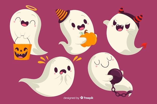 Duch halloween z kolekcją kostiumów Darmowych Wektorów