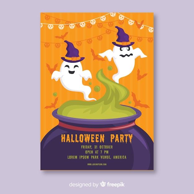 Duchy W Tyglu Plakat Halloween Darmowych Wektorów