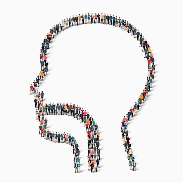 Duża Grupa Ludzi W Postaci Mężczyzny, Krtani, Medycyny. Ilustracja. Premium Wektorów