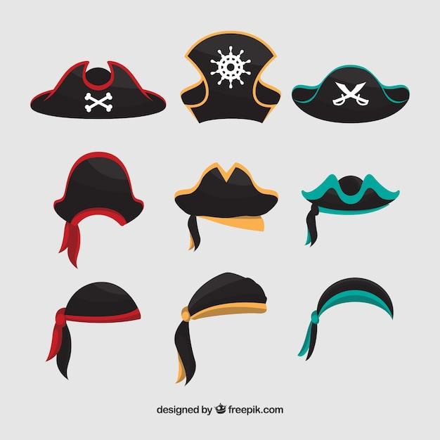 Duża kolekcja czapek pirackich Darmowych Wektorów