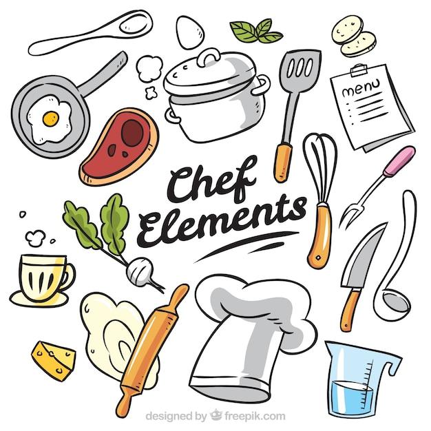 Duża Kolekcja Ręcznie Rysowanych Przedmiotów Kucharzy Premium Wektorów