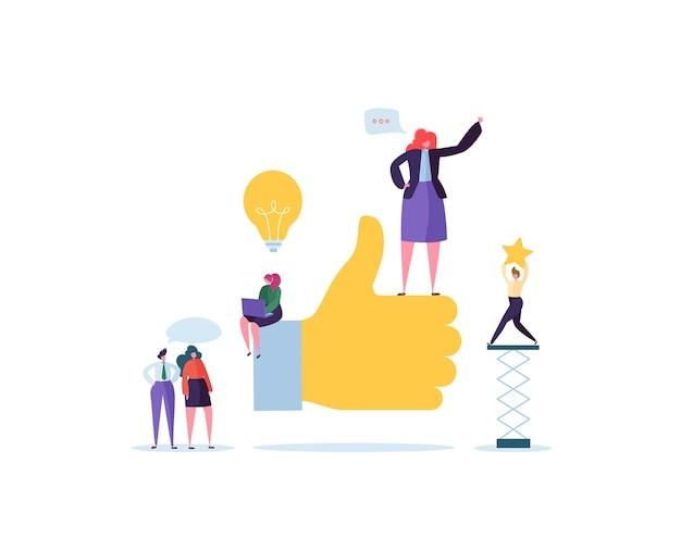 Duża Ręka Z Kciukiem Do Góry I Praca Płaskich Znaków Ludzi Premium Wektorów