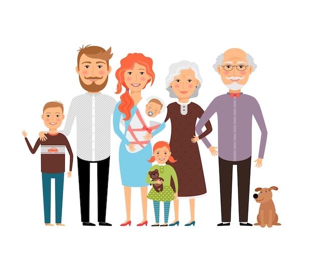 Duża Szczęśliwa Rodzina. Ojciec Matka Syn Córka Dziadek Babcia. Ilustracji Wektorowych Darmowych Wektorów
