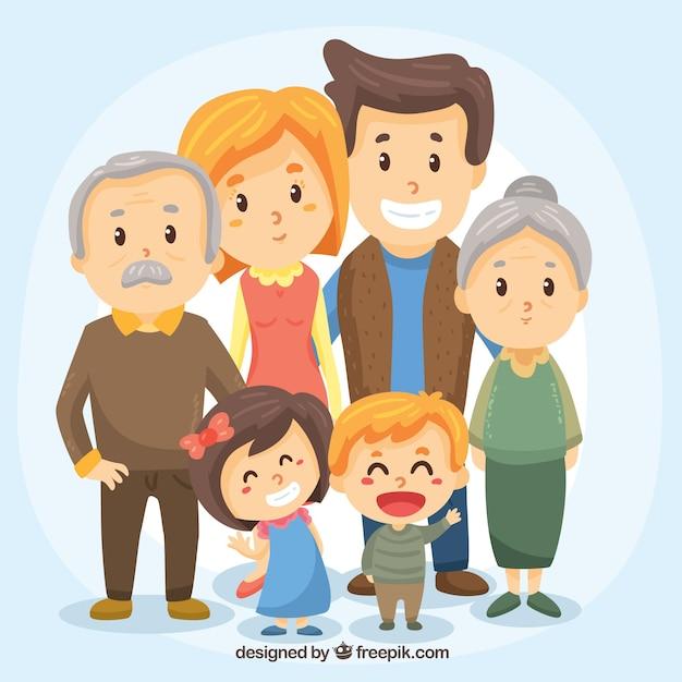 Duża Szczęśliwa Rodzina Z Ręcznie Rysowane Stylu Premium Wektorów