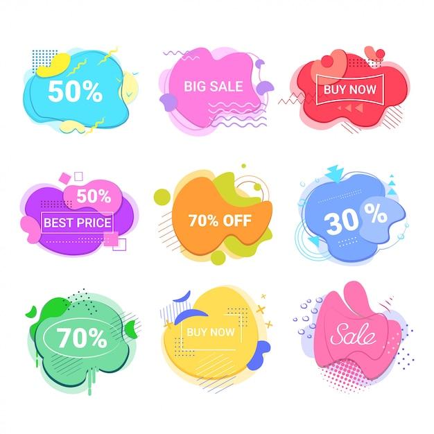 Duża Wyprzedaż Kup Teraz Naklejki Zestaw Oferta Specjalna Zakupy Rabat Odznaki Płynny Kolor Abstrakcyjne Transparenty Z Płynnymi Kształtami Premium Wektorów