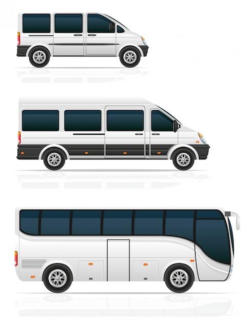 Duże I Małe Autobusy Do Ilustracji Wektorowych Transportu Pasażerskiego Premium Wektorów