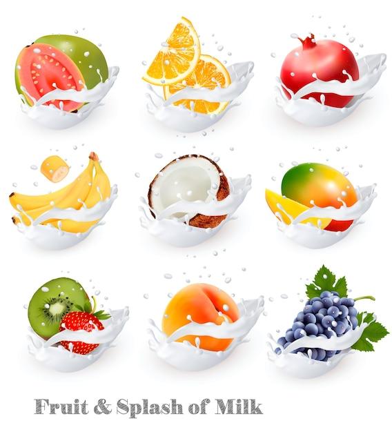 Duże Ikony Kolekcji Owoców W Odrobinie Mleka. Gujawa, Banan, Pomarańcza, Kokos, Winogrona, Kiwi, Granat, Brzoskwinia, Mango. Zestaw Premium Wektorów