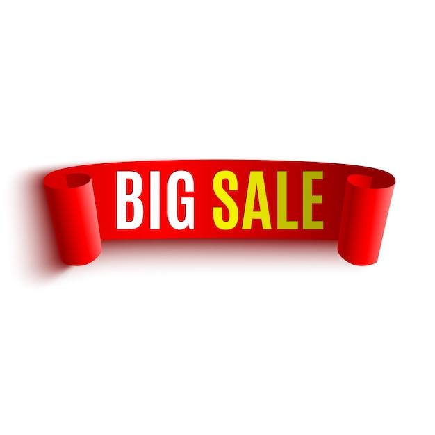 Duży Baner Sprzedaży. Czerwona Wstążka Premium Wektorów