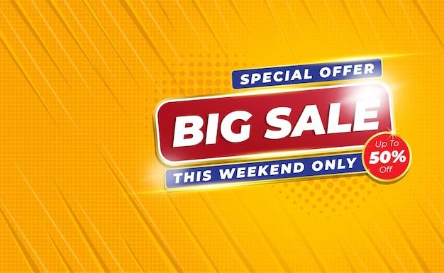 Duży Baner Sprzedaży Lub Plakat Ze Stylem Tła Comic Zoom Premium Wektorów