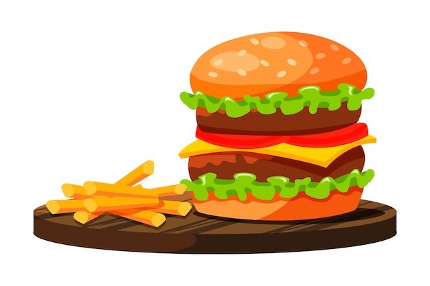 Duży Burger Z Podwójnym Mięsem, Serem, Pomidorem, Zieloną Sałatą I Frytkami Szybko Przygotowany I Podany Na Drewnianym Talerzu Na Białym Tle Premium Wektorów