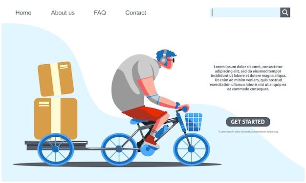 Duży Facet Jedzie Na Niebieskim Rowerze Przewożących Pudła Usługi Dostawy. Premium Wektorów