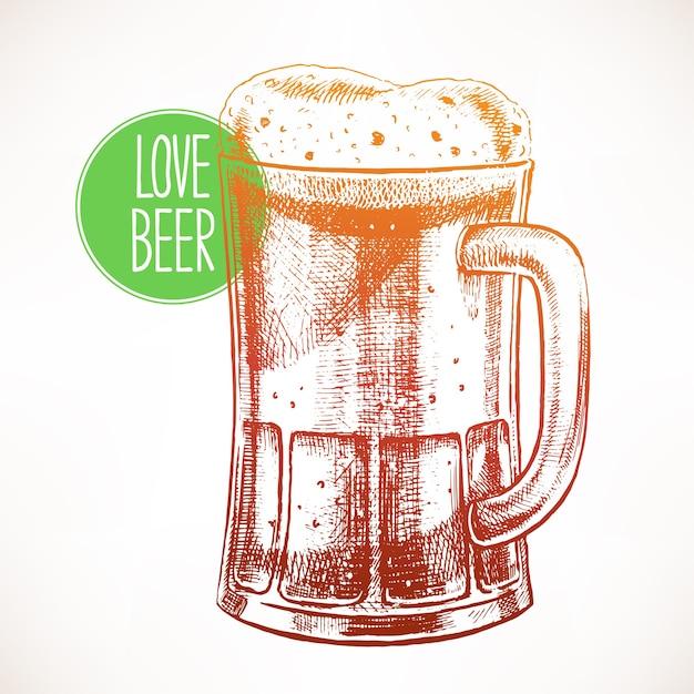 Duży Kubek Z Pienistym Piwem. Ręcznie Rysowane Ilustracji Premium Wektorów