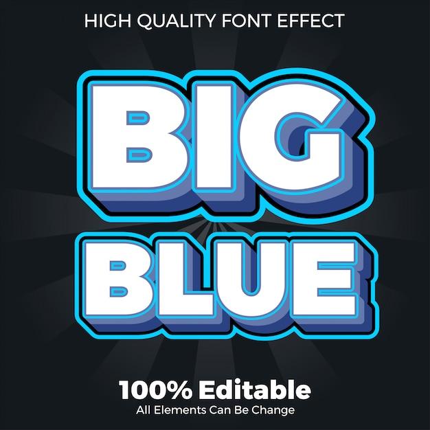 Duży Pogrubiony Niebieski Styl Czcionki Edytowalny Efekt Czcionki Premium Wektorów