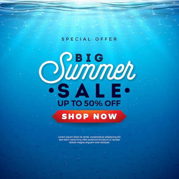Duży Projekt Sprzedaży Lato Z Listem Typografii Wakacje I Wschód Słońca Na Tle Podwodnego Oceanu Niebieski. Ilustracja Sezonowa Na Kupon Lub Kupon Darmowych Wektorów