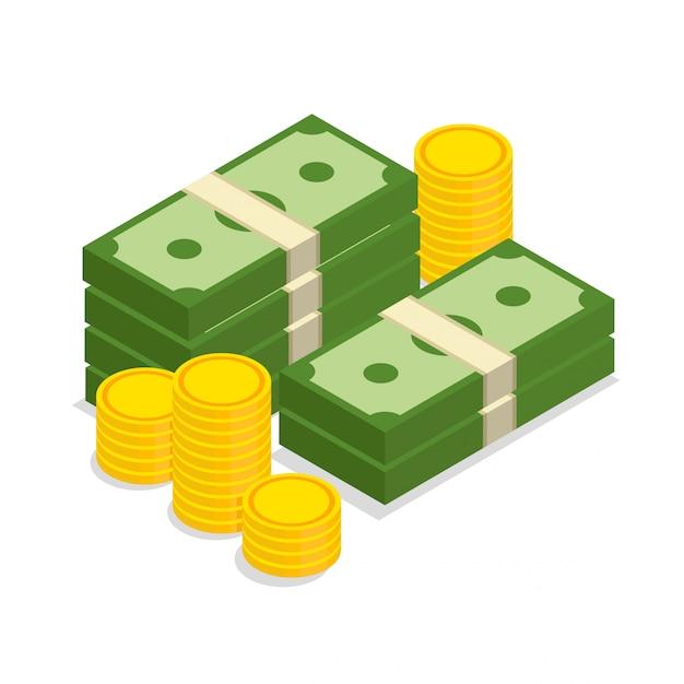 Duży Stos Gotówki I Złote Monety Ułożone W Modnym Stylu Izometrycznym. Ilustracja Na Białym Tle. Premium Wektorów