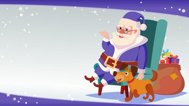Duży świąteczny Szablon Transparent Sprzedaż Z Happy Santa Claus. Premium Wektorów