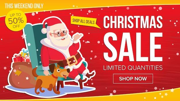 Duży świąteczny Sztandar Sprzedaż Ze Szczęśliwym Mikołajem. Premium Wektorów