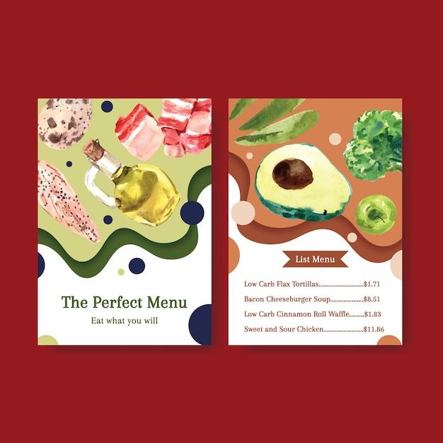 Duży Szablon Menu Z Koncepcją Diety Ketogenicznej Dla Ilustracji Akwarela Restauracji I Sklepu Spożywczego. Darmowych Wektorów