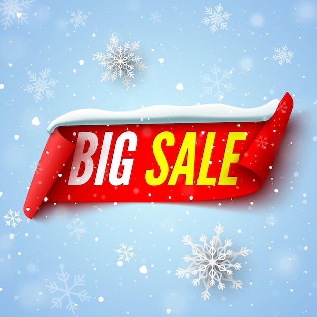 Duży Transparent Sprzedaż Z Czerwoną Wstążką, Czapką śnieżną I Płatkami śniegu. Premium Wektorów