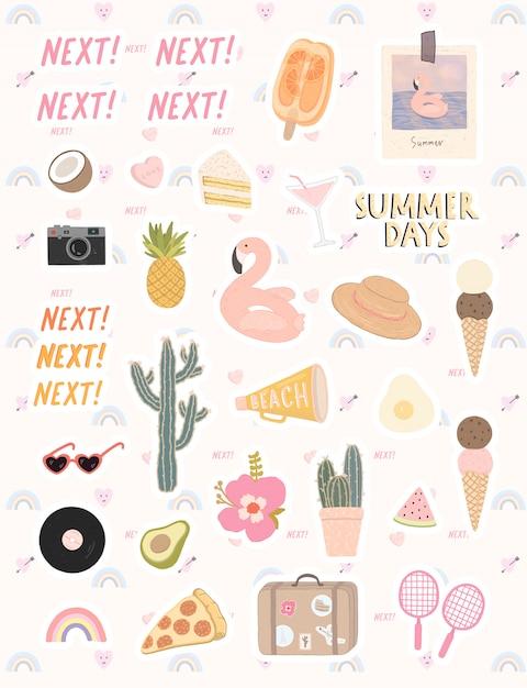 Duży wektor zestaw stylowych elementów na temat czasu letniego. śliczna wektorowa ręka rysujący elementy dla wakacje letni i przyjęcia. Premium Wektorów