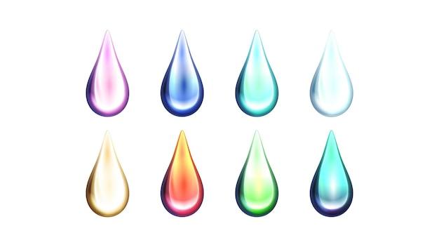 Duży Zbiór Kropli Farby W Jasnych Kolorach Na Białym Tle Premium Wektorów