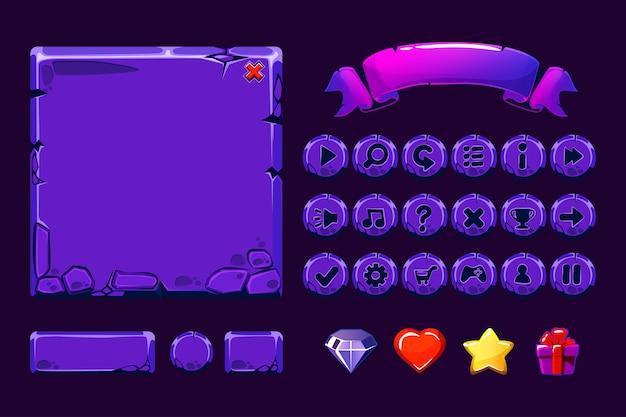 Duży Zestaw Cartoon Neonowe Fioletowe Kamienne Zasoby I Przyciski Do Gry Ui, Ikon Gui Premium Wektorów