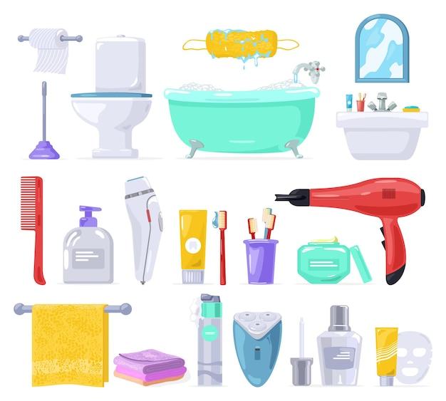 Duży Zestaw Do Pielęgnacji Ciała, Higieny Osobistej, łazienki. Premium Wektorów