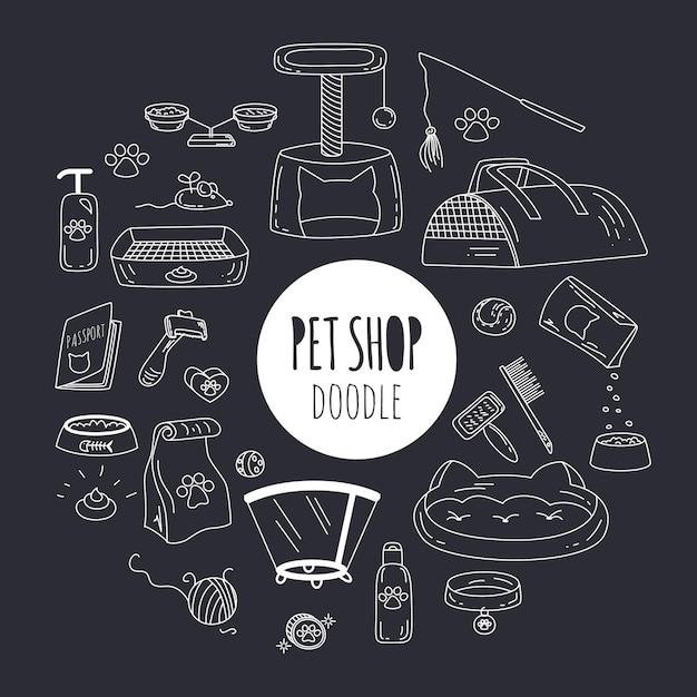 Duży Zestaw Doodle Z Ikonami Rzeczy I Dostaw Zwierząt Domowych Na Czarno Premium Wektorów