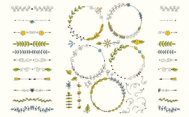 Duży zestaw elementów dekoracyjnych ręcznie rysowane Premium Wektorów